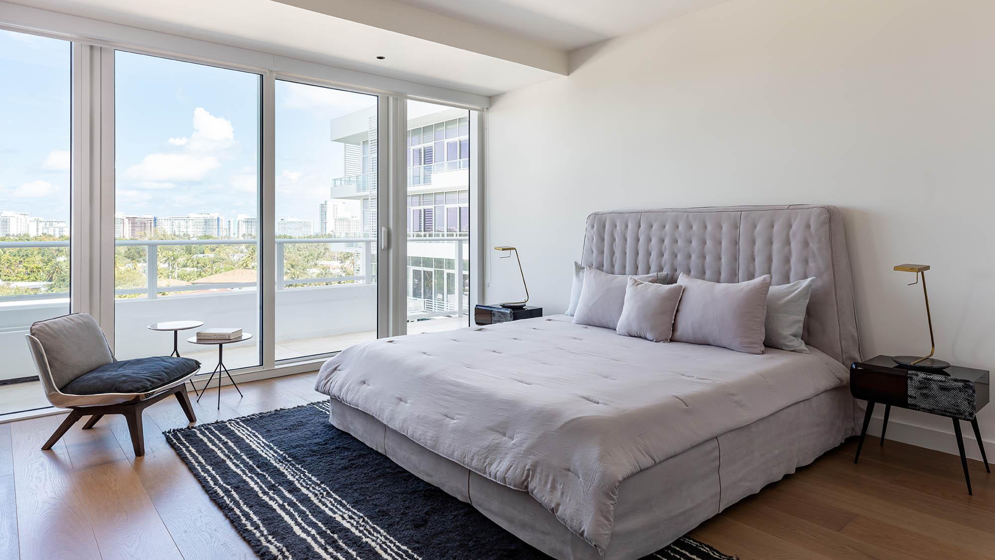 Master Bedroom at the Miami luxury condos of The Ritz-Carlton Residences, Miami Beach